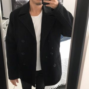 OLD NAVY Black Double-Breasted Peacoat